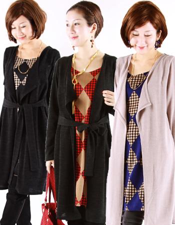 【授乳服・マタニティ】アーガイル・ロンドン(ジッパー)~ロングカーデを重ね着しているようなデザイン~