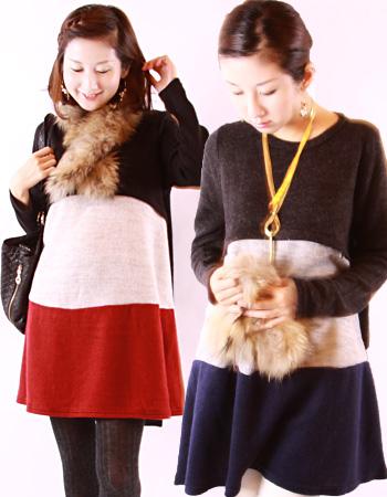 【授乳服・マタニティ】ハッピー・トリコロール(ジッパータイプ)妊娠中から産後までOK