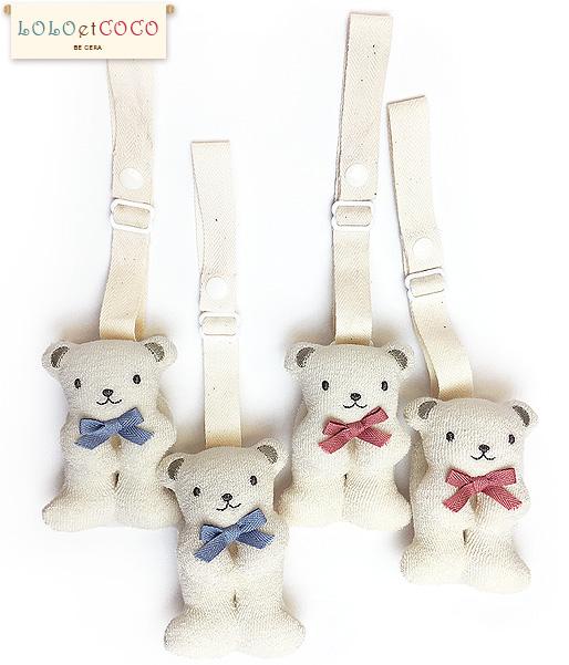 【ベビー】LOLOetCOCOクマの便利クリップ(各2個組)オーガニックコットン100%日本製