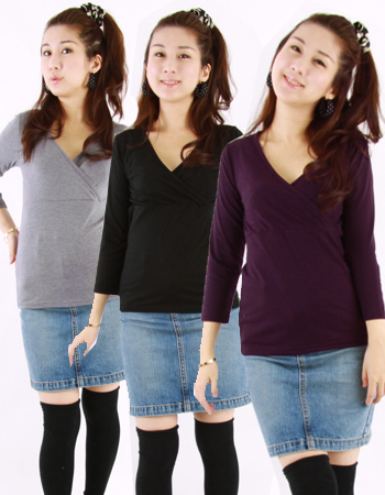 【授乳服・インナー】キューティ☆ママシャツ(カシュクール)(タイムセール期間中は4枚以上でまとめ買い!)♪2枚までメール便可♪