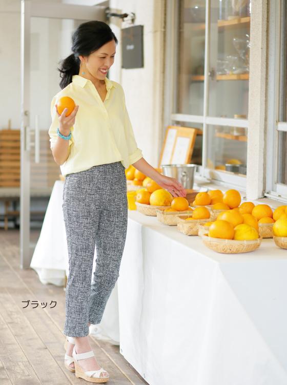 【P2<ピーツー>】綿混かすり調クロップドパンツ【日本製】
