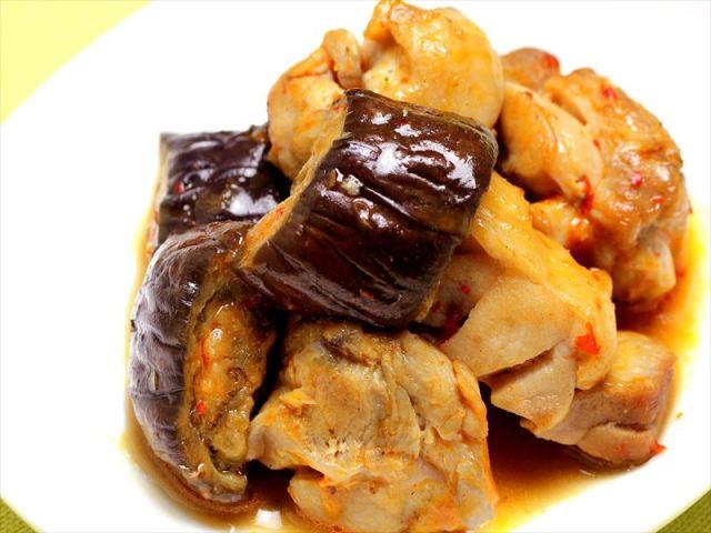 鶏肉と茄子の豆板醤炒め