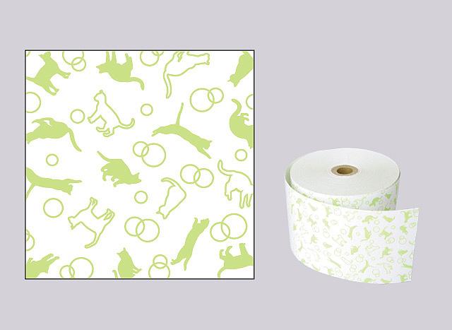 ファンシーレジ用紙 ねこ 緑 (58mm) 8巻入