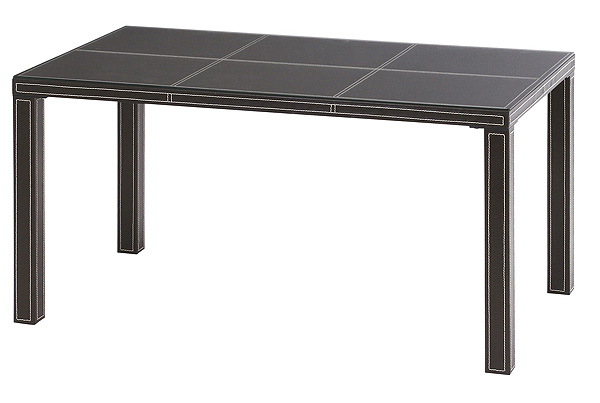 ダイニングテーブル=ブラックフェイクレザーを纏ったクールで上品なテーブル