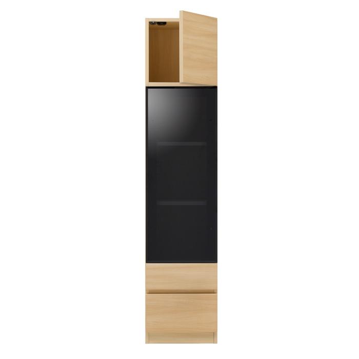 ガラスウォールラック・ガラス扉・引出し2段タイプ [グラナー] 幅40cm = 全14色から選べます!
