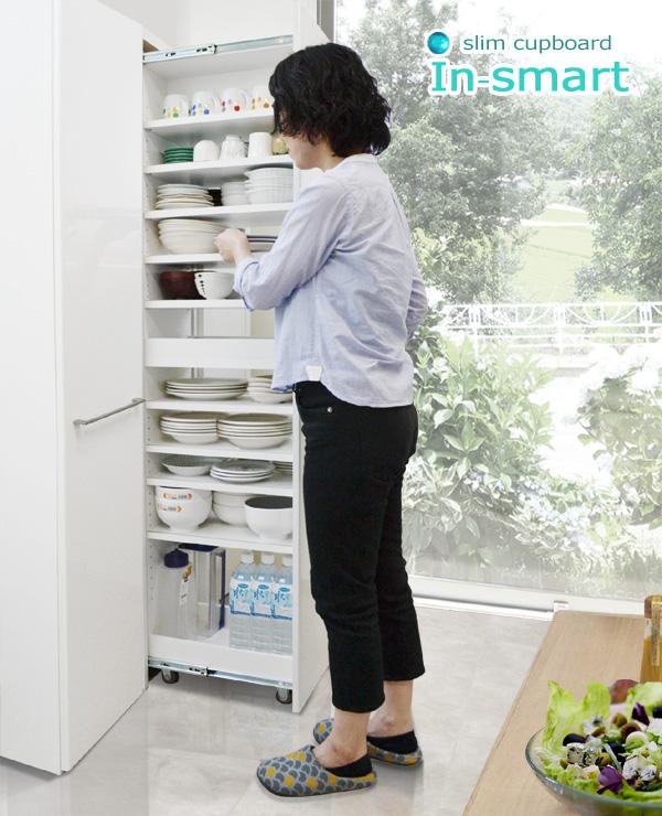 スライド式スリム食器棚 [インスマート]35cm幅  = たくさんの食器をわずか35cm幅に効率よく収納できて奥の食器も出し入れラクラク ◆完売◆