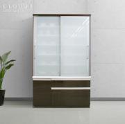 食器棚 [クラウド2]120cm幅 ブラウン = スムーズ引き戸タイプ扉&多量収納引出付[国産完成品]