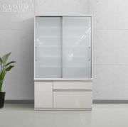食器棚 [クラウド2]120cm幅 ホワイト = スムーズ引き戸タイプ扉&多量収納引出付[国産完成品]