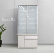 食器棚 [クラウド2]90cm幅 ホワイト = スムーズ引き戸タイプ扉&多量収納引出付[国産完成品]