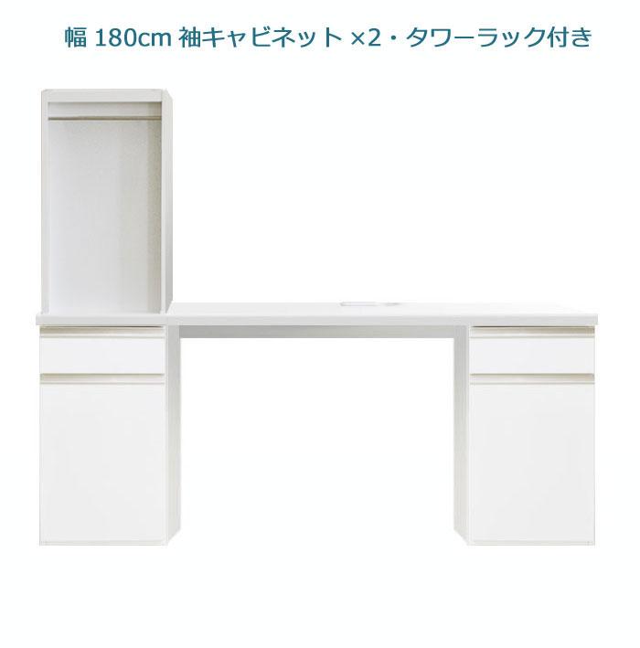 システムデスクセット[パレット]幅180cm サイドキャビネット2個&デスク上書棚付き グロスホワイト/ウォールナット