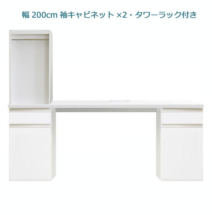 システムデスクセット[パレット]幅200cm サイドキャビネット2個&デスク上書棚付き グロスホワイト/ウォールナット