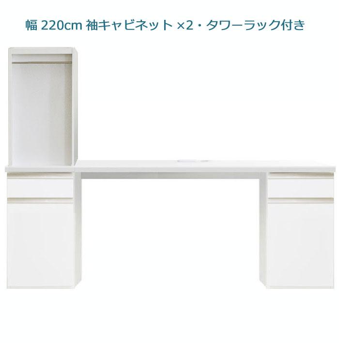 システムデスクセット[パレット]幅220cm サイドキャビネット2個&デスク上書棚付き グロスホワイト/ウォールナット
