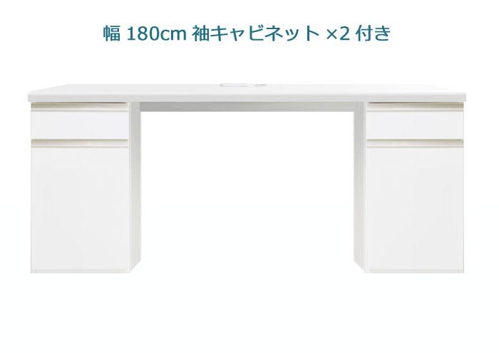 システムデスクセット[パレット]幅180cm サイドキャビネット2個付き グロスホワイト/ウォールナット