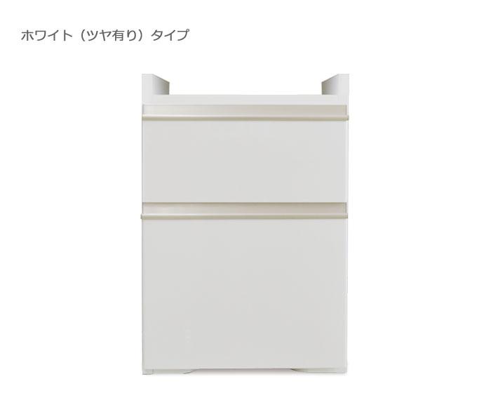 システムデスクセット[パレット]幅40cm 隠しキャスター付きサイドワゴン グロスホワイト/ウォールナット