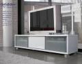 テレビ台[グリッダー]ホワイト 160cm幅= 50V大型テレビ対応のシンプルモダンデザインローボード[国産・完成品]
