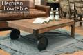 ローテーブル [ハーマン] 幅106cm = 使い込んだレトロな雰囲気がかっこいい!車輪付きローテーブル