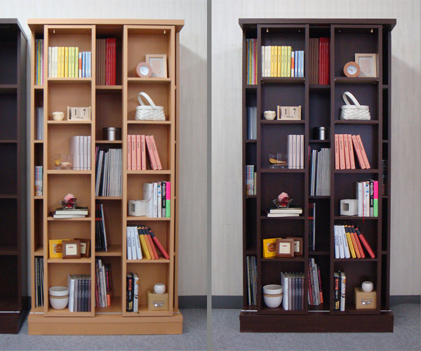 SRスライド書棚 = 88cm幅 2slide ウォールナット・ナチュラル[国産・完成家具]