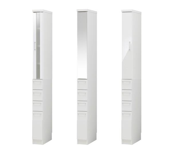 スリムラック [ラスコ] 15〜24cm幅 (下段引出タイプ) = 幅1cm単位・カラー12色・扉3タイプ・取手5色から選べるオーダースリムラック