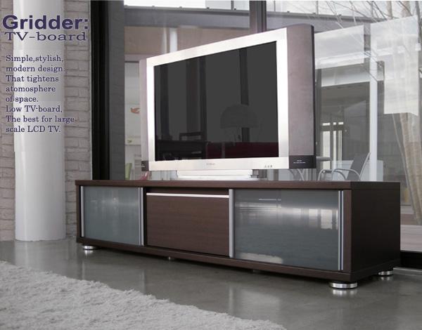 テレビ台[グリッダー]ブラウン 160cm幅= 50V大型液晶テレビ対応のシンプルモダンデザインローボード[国産・完成品]