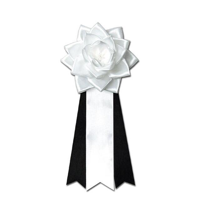 リボン徽章・バラ2号黒白