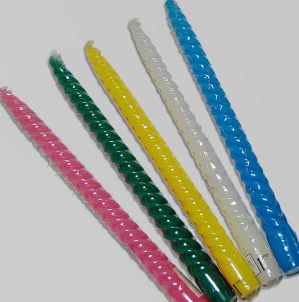 スパイラルキャンドル 12インチ 白・ピンク・黄・青・緑・黄緑