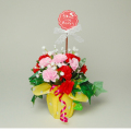 母の日用 カーネーション造花アレンジポット製作キット 「お母さんいつもありがとう」
