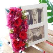 【送料無料】大切な思い出を♪ プリザーブドフラワーアレンジメント「マルチウッドフォトフレーム」 【薫る花】【花/プレゼント/ギフト/誕生日/結婚記念日/写真たて/写真立て/還暦祝い】