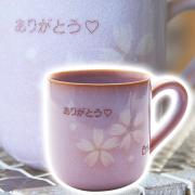 古稀・喜寿・傘寿などのお祝いに萩焼 名入れマグカップ 花だより 木箱入り
