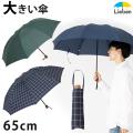 【送料無料】大きい ミニ傘<チェック/無地/ストライプ> 65cm 折りたたみ傘 【LIEBEN-0222】