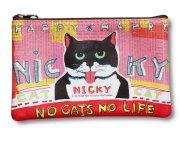 【猫柄】カツミアート(松下カツミ)猫柄ポーチ:NICKY