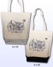 【猫柄】カツミアート(松下カツミ)トートバッグ(ツートン):スイングキャット