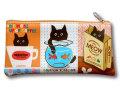 【猫柄】カツミアート(松下カツミ)猫柄ペンケース:クロックムッシュ