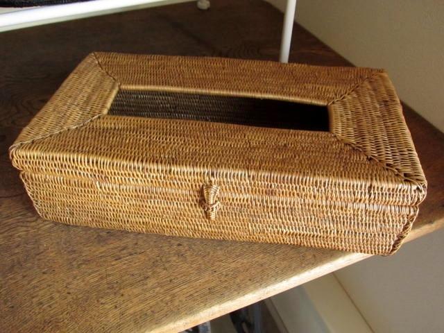 アタ製・ティッシュボックス(ナチュラルカラー・平編み)AT117a