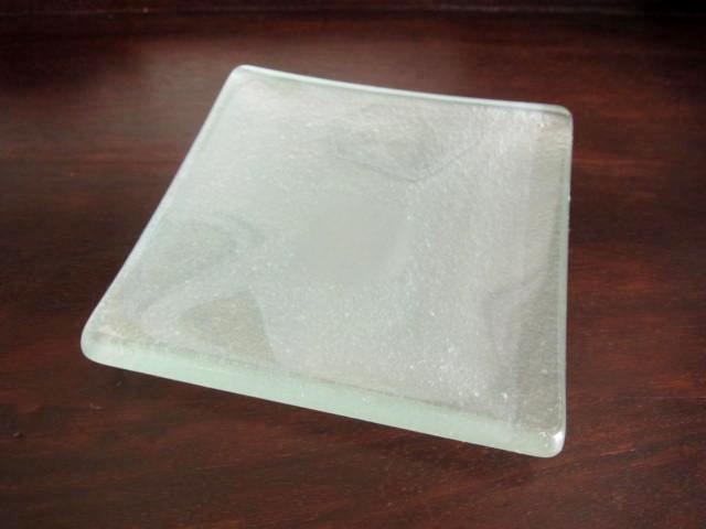 バリガラス サンドブラスト・スクエアプレート(12cm)GS028