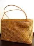 アタ製トートバッグ(Lサイズ・透かし編み・ブラウン系プリントバティックの内布付き)AB061