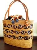 アタ&イカットバッグ(Lサイズ・藍色系イカット・縄編み紐)AB067