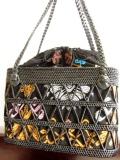 黒アタ&ソンケットバッグ(Mサイズ・シルバーとレモンイエローの月)AB076