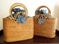オウルハウス アタバッグ(Mサイズ・フープハンドル・模様編み・草木染めバティックチャップ内布:インディゴブルー/グリーン&ブルー)AB102