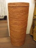 アタ製 蓋付き筒型 収納/ランドリーボックス(高さ60cm/平編み)AT083