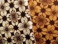 バティック・クロス(プリントバティック お花の格子柄 白/茶黄色)BT099
