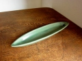 バリ島・タバナン焼き リーフ型のお香立て(グリーン)IA040