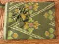 イカット(かすり織り)製 ポーチ(Lサイズ・マチ無し・グリーン)IK008