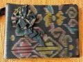 イカット(かすり織り)製 ポーチ(Lサイズ・マチ無し・ネイビー)IK011