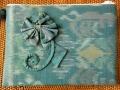 イカット(かすり織り)製 ポーチ(Lサイズ・マチ無し・ターコイズブルー)IK012