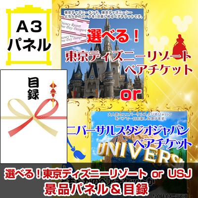 ディズニーorUSJ選べるペアチケット 【A3景品パネル&引換券付き目録】(tdrorusj109)