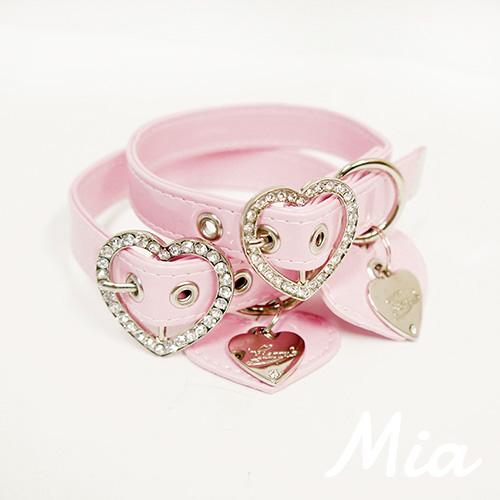 【アウトレット】【Mia】首輪 ベビーピンク(金具シルバー) M~XL