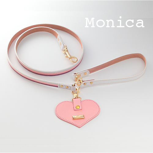 【Monica】リード マルチカラー(ピンク) 首輪ML,L,XL用