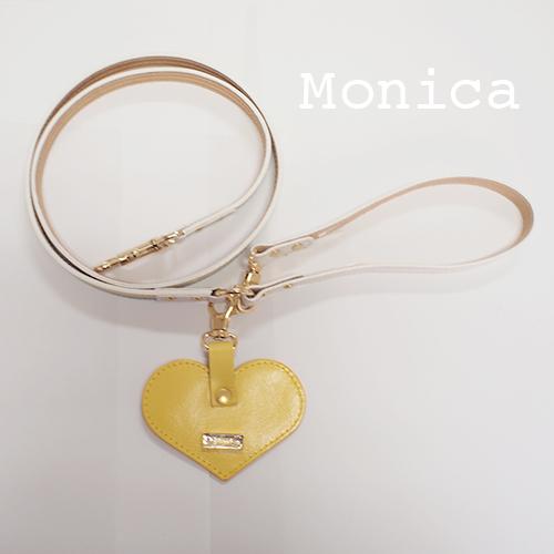 【Monica】リード マルチカラー(イエロー) 首輪ML,L,XL用