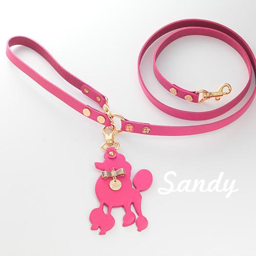 【Sandy】リード ショッキングピンク 首輪S,M用