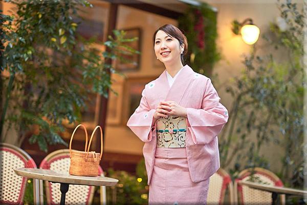 5−9きもの 菊花絞りマーガレット 綿麻きもの オーダー仕立付き 藤井絞 ローズ 女性にオススメ